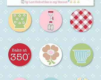 Bake Sale 2  Magnets by Lori Holt of Bee in My Bonnet for Riley Blake Designs- Set of 9