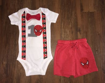 Spiderman Inspired Birthday Outfit with Shorts