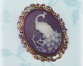 Bird Pin Brooch Purple Cameo Victorian Peacok  Vintage Style Steampunk Antique  Gold Style