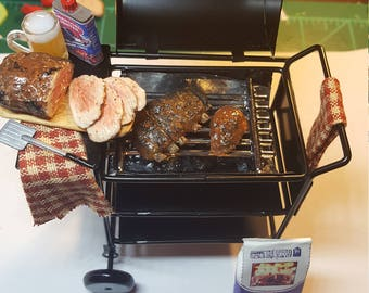 Miniature BBQ Grill with Rack of Ribs dollhouse miniatures
