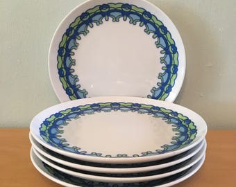 Five Mod dessert plate by Royal Crown from Santa Barbara by Kitty lime green & blue floral pattern on white ceramic for tropical home!