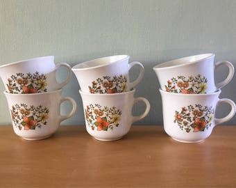 Darling vintage set of 6 white Corelle / Corning Indian Summer mugs - yellow orange & green fall flowers for your tropical Old Florida home!