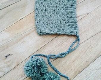 Crochet Newborn Bonnet, Crochet Pixie Bonnet in forest green cotton, Soft Baby Bonnet with pom poms, Baby Gift, Newborn Photo Prop.