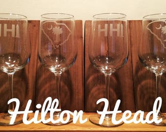 HIlton Head Wine Glasses - Set of 4 Hilton Head Glasses - Hilton Head Gift - Wine Glasses HH