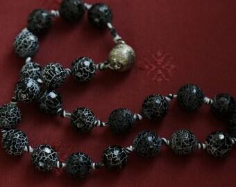 Black fire agate necklace
