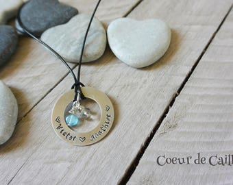 Necklace to customize the names of children + birthstones