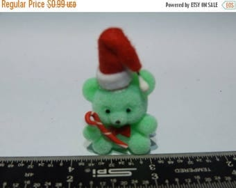 "Sale Vintage Dollhouse Miniature Flocked 1"" Green Christmas Bear holding Candy Cane Bear"