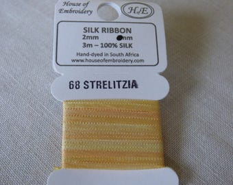 House of Embroidery collar 68 STRELITZIA 2mm Silk Ribbon