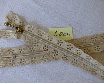 Zipper lace beige 50 cm