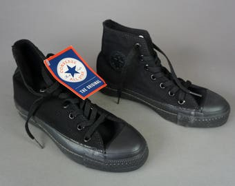 RARE Black Label Monochrome CONVERSE All Star Chuck Taylor Sneakers USA Made Hi-Top Black on Black | M 3.5 / W 5.5 6