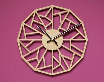 Geometric clock  / Unique wall clock / Modern clocks / Modern wall clock / Laser cut wood wall clock / Unique clock / Modern clock large