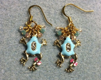 Turquoise and pink enamel and rhinestone frog charm earrings adorned with tiny dangling turquoise, pink, and clear Chinese crystal beads.