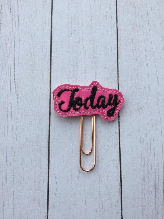 Hot Pink & Black Today Planner Clip/Planner Clip/Bookmark. Today Planner Clip. Word Planner Clip. Heart Planner Clip