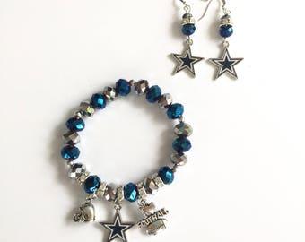 Dallas Cowboys Charm Bracelet and Earrings