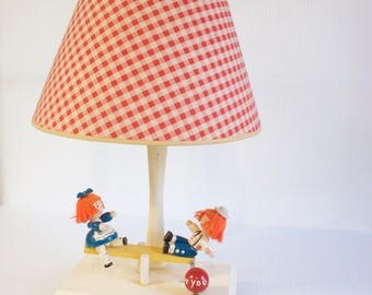 Vintage Nyrsery  Lamp - Raggedy Ann and Andy Seesaw Lamp - 1950 Child's Room Musical Lamp