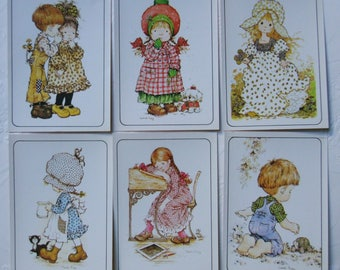 Sarah Kay.Vintage stickers.1980s.Holly Hobbie.Scrapbooking.Craft supply.Originals.Seals.Christmas gift.For girls.Children.Romantic.Figuritas
