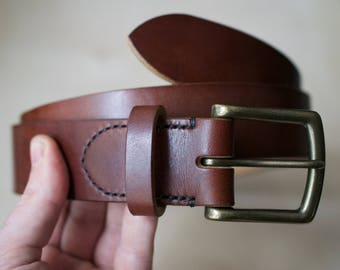 Leather Belt - Mens Leather Belt - Mens Belt - Leather Belt Men - Handmade Belt - Gift for Him - Oak Bark Leather Belt - Thick Leather Belt