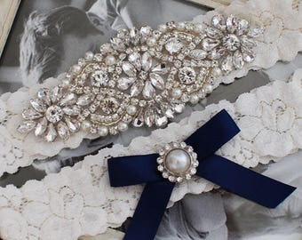 Wedding Garter Set, Bridal Garter, Ivory Lace Garter Set, Navy Wedding Garter Set