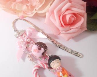 "Bookmarks Doll ""I miss Lili the gourmet"" resin and polymer clay"