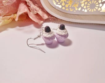 """15mm """"Purple and BlackBerry"""" Cupcake earrings in polymer clay, 925 silver plated"""