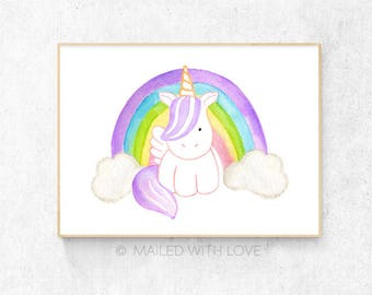 Baby Unicorn Watercolour - A3 & A4 Size - Digital Download