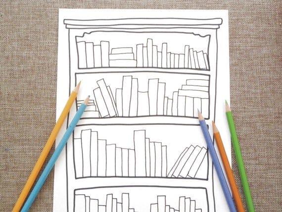 Libreria da colorare scaffale libri per adulti amante libri - Libri da colorare gratuiti da stampare ...