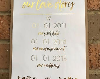 OUR LOVE STORY A4 Foil Print