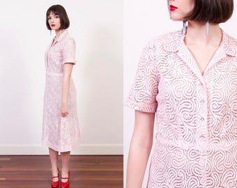 Vintage 1940s Pink Lace Dress / NELLY DON / Rhinestone Buttons / 1940s Dress / Sheer Lace Dress / S/M