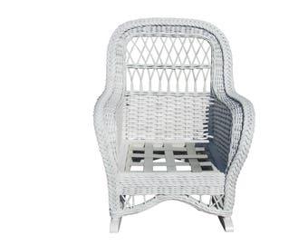 vintage lane bar harbor style wicker rocker cottage coastal beach white wicker rocking chair classic porch - Wicker Rocking Chair