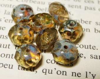 10 Czech beads, 6x8mm Daffodil finish R801 picasso