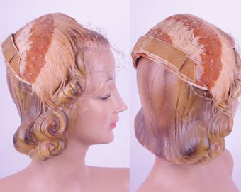 Vintage 1950s Salmon Feather Fascinator Hat// VTG Fifties Minette Netted Headpiece Wedding Party