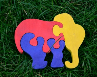 Wooden puzzle Baby Elephant down, Handmade Eco Friendly Toy, For Toddlers, Logic toys, Wooden toy, Natural, Organic and Safe toy