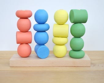 Wooden Shape Sorter, Learn Colors, Montessori busy toy, Waldorf Toddler, Pastel Rainbow, Eco Friendly Toy, Wooden Stacking Toy, Waldorf