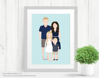 Custom Family Portrait illustration | Personalised Digital Illustration | Fathers Day Gift | Digital Portrait