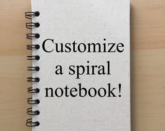 Personalized notebook, custom notebook, blank notebook, canvas notebook, blank journal, custom journal, custom sketchbook