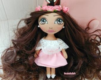 Keychains Bag charms Fashionista Handbag Charms doll with flowers crown Accessory Christmas Gifts for girl Ragdolls Cloth Dolls Soft Toys