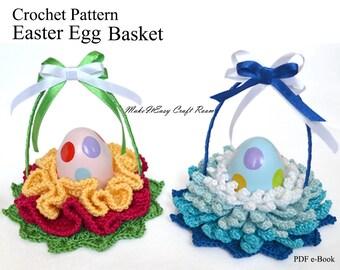 Easter egg basket crochet pattern Single egg basket Crochet egg basket Easter table decor Easter flower basket Digital download