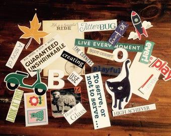 Paper Craft Kit, Scrapbooking Ephemera (25 pieces), Journalling Embellishments, Craft Kit, Glue Book, Daily Planner