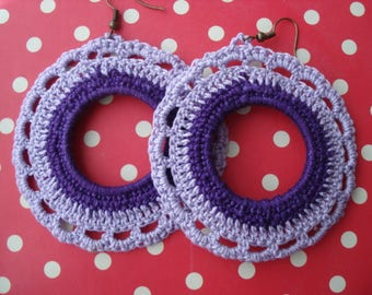 Handmade chic beautiful lace earrings - Handmade Crocheted Earrings Round
