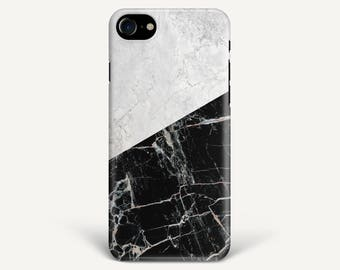 Black and White Marble Texture Case For iPhone 8 iPhone X iPhone 7 iPhone 7 Plus Samsung Galaxy S8 Galaxy S7 S6 Galaxy A3 A5 A7 LG G6 G5 HTC