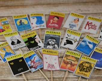 Playbill Cupcake Toppers, Musical theme cupcake toppers, Broadway show cupcake decoration