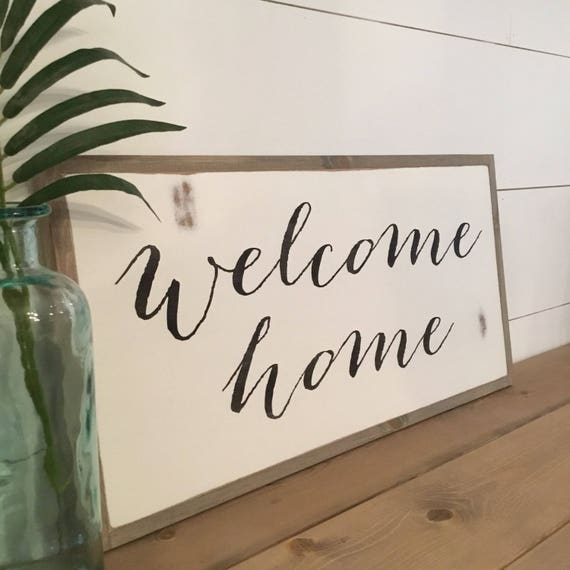 WELCOME HOME 1'X2' entry sign | distressed rustic wall decor | painted shabby chic wall plaque | urban modern farmhouse