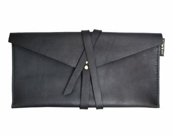 Leather Wrap Clutch, Black Leather Handbag