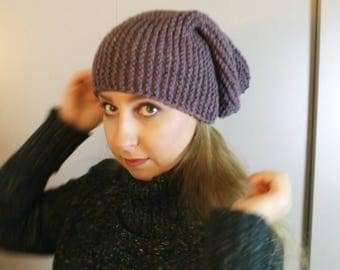Hat beanie in garter stitch