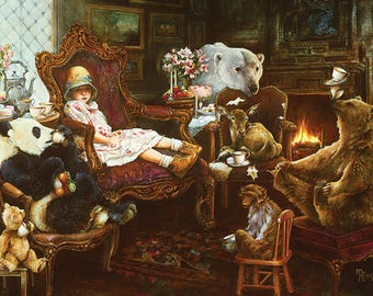 Tea Party Limited Edition Giclee' print on canvas