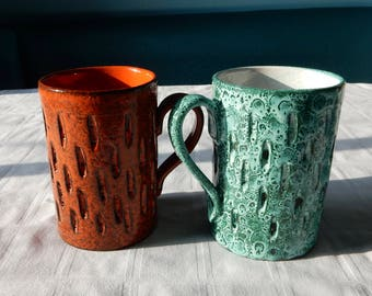 Italian Lava Coffee Mugs - Two Made in Italy Mugs Mid Century Style - Pair Italian Coffee Cups with a Lava Glaze - Italian Pottery Mugs