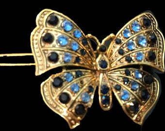 New Antique Gold Butterfly with Blue and Sapphire Crystal 2' Barrette- Leverback