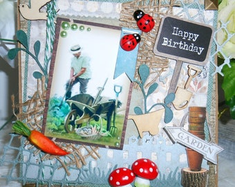 Birthday card, handmade, 3D man, vintage, gardening, format bridge theme.