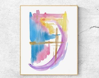 Abstract Watercolor Art Print 1806, Hand-finished With Gold, Contemporary Art Print, Abstract Art, Modern Wall Art, Modern Art Print,