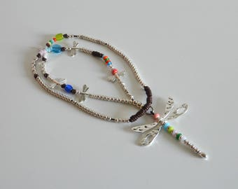 Long leather necklace with colorful glass beads ,zamak beads and butterfly pendent,hand made style style,uno no de 50 style